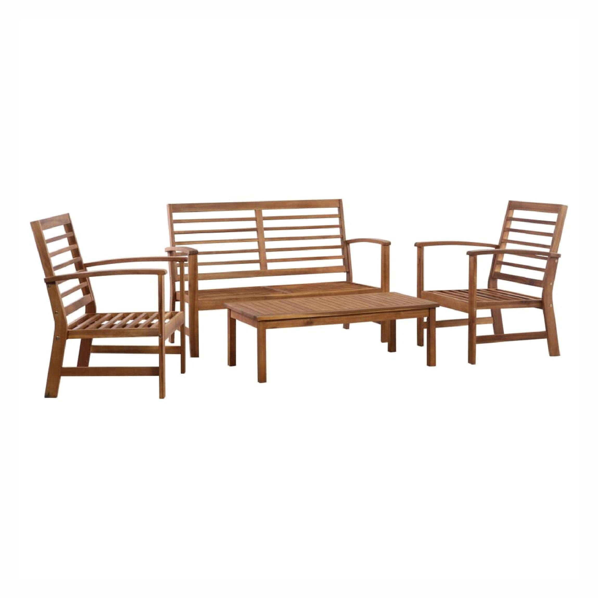 K&A Company Outdoor Furniture Set, 4 Piece Garden Lounge Set Solid Acacia Wood by K&A Company