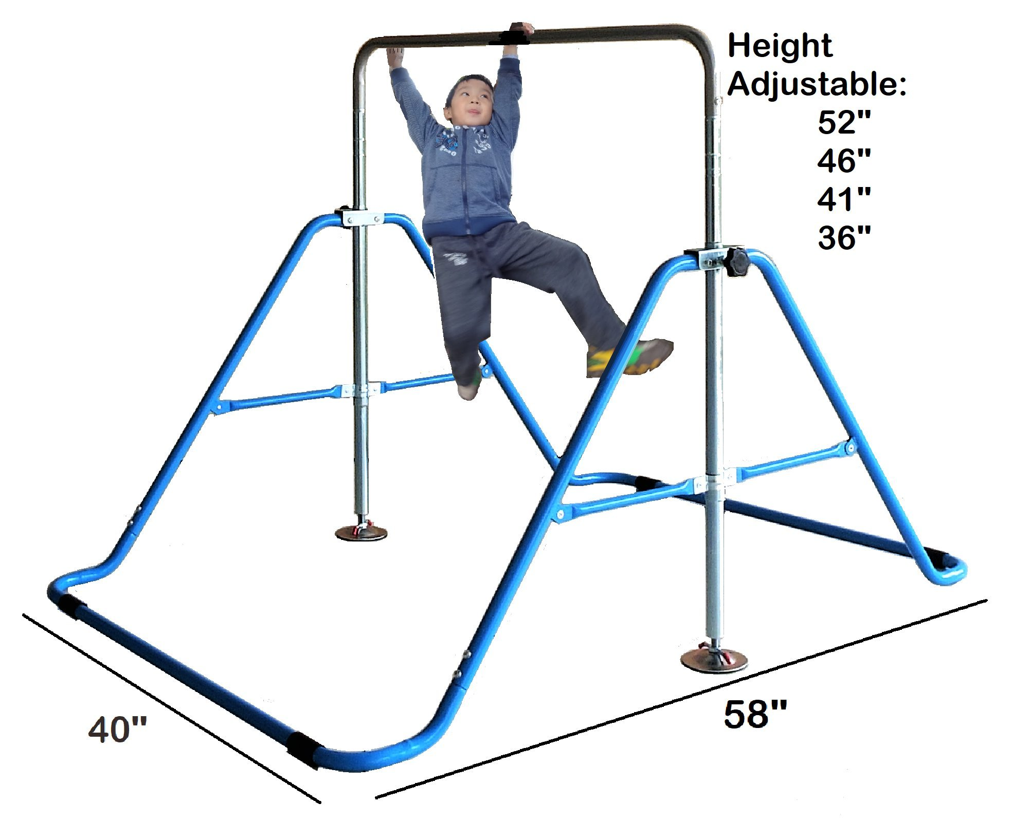 Kids Jungle Gymnastics Expandable Junior Training Monkey Bars Climbing Tower Child Play Training Gym Blue by Kids Jungle