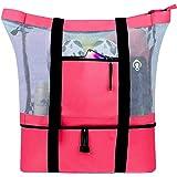 Outdoor Camping Beach Mesh Tote Bag with Detachable Cooler Bag Packing Organizer, Mesh Beach Tote, Beach Gear, Beach Essentials, Pool Bag (16.1 x 6.7 x 20.1in, Red)