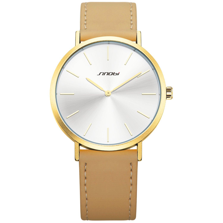 SINOBI Unisex Quartz Analog Watch for Men Women with Minimalist Ultra Thin White Dial and Elegant Brown Leather