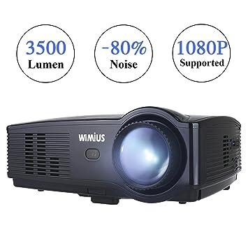 Proyector, WiMiUS Proyectores LED 3500 Lúmenes Soporta Full HD 1080P Proyector Video Portátil Proyector Cine en casa con Puerto HDMI VGA USB SD para ...