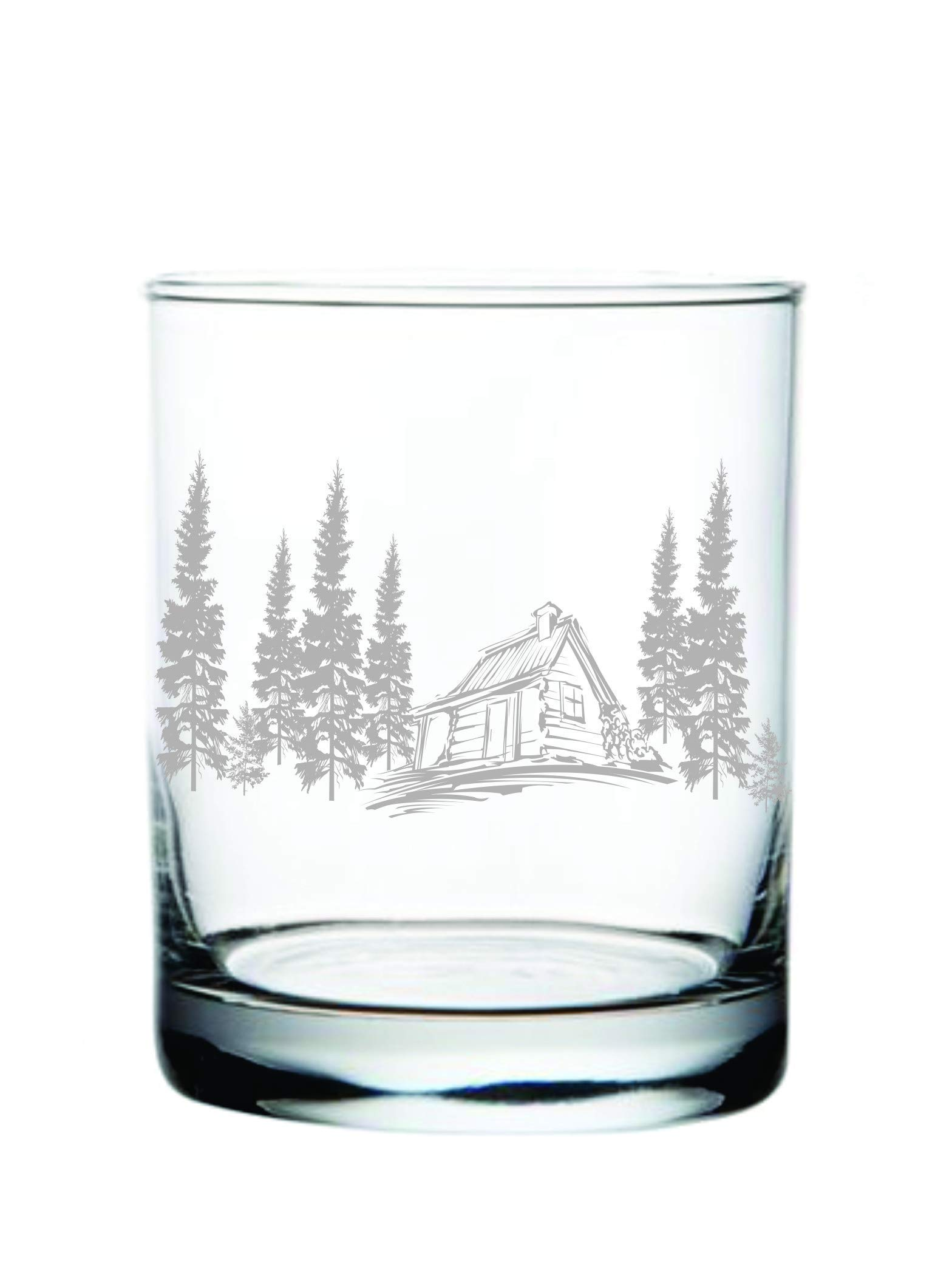 Cabin in the Woods Whiskey Rocks Glass (14oz) Laser Engraved