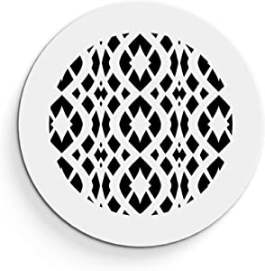 """Saba Air Vent Cover Grille - Acrylic Plexiglass 12"""" Round Duct Opening (14"""" Round Overall) White Finish Decorative Register Covers for Walls and Ceilings NOT for Floor USE, Charlotte (1PCs)"""