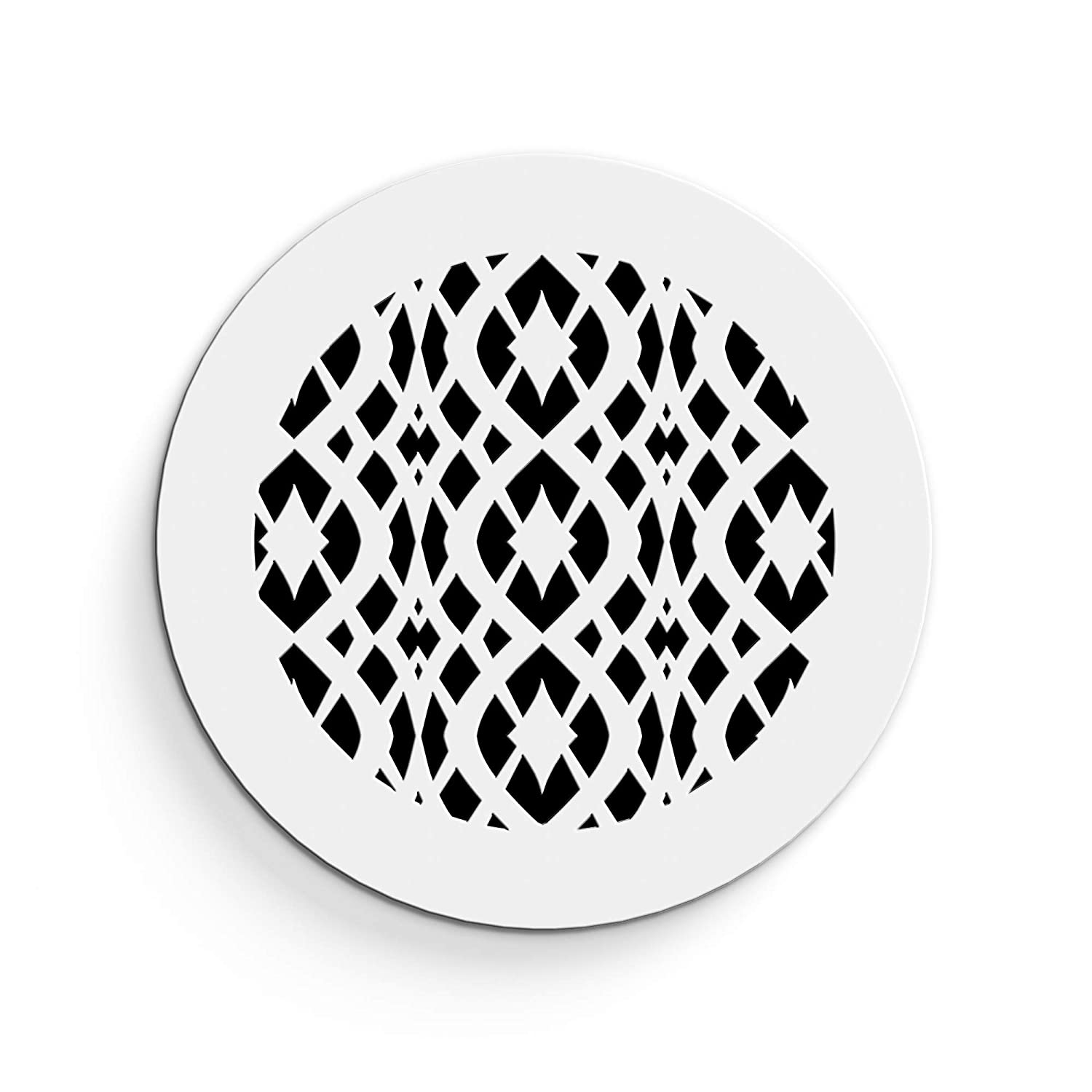 """Saba Air Vent Cover Grille - Acrylic Plexiglass 6"""" Round Duct Opening (7.5"""" Round Overall) White Finish Decorative Register Covers for Walls and Ceilings NOT for Floor USE, Charlotte (1PCs)"""
