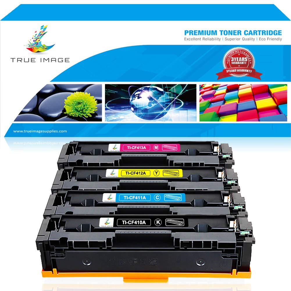 True Image 4 Packs Compatible for HP 410A CF410A 410X CF410X Cartridge HP Color Laserjet Pro MFP M477fdw M477fnw M477fdn M477, M452dw M452nw M452dn M452 M377dw Printer Ink (Black Cyan Yellow Magenta)