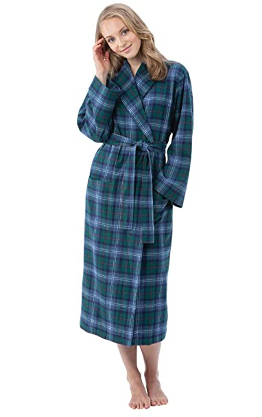PajamaGram Flannel Robes for Women - Soft Yarn Dyed Plaid f026be09a8