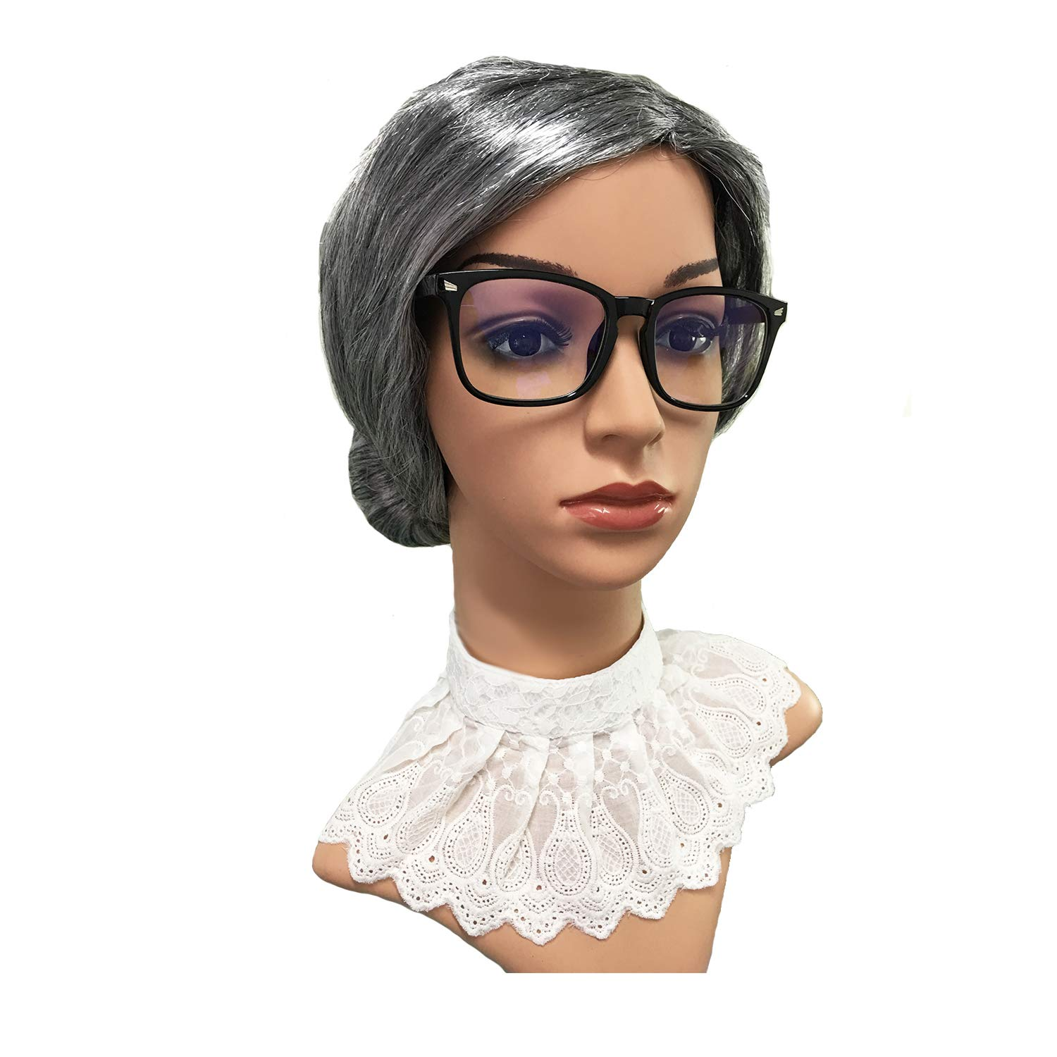 Old Lady Granny Wig,False Lace Collar Choker Blouse,Judge Gavel w//Large Nerdy Glasses RBG Wig Set