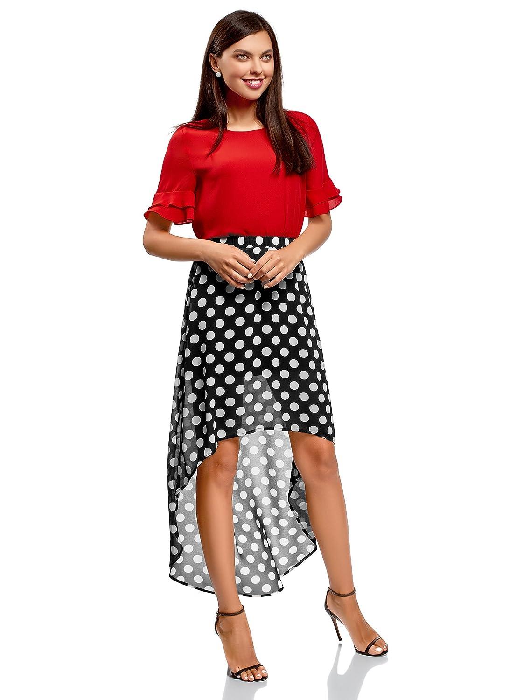 oodji Ultra Mujer Falda de Gasa con Parte Inferior Asim/étrica