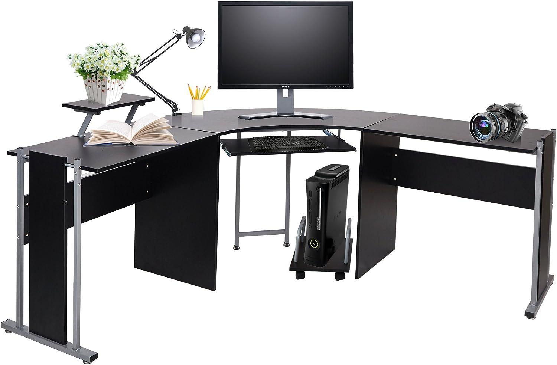 KARMAS PRODUCT L Shaped Computer Desk Modern Corner Table Wood Laptop Home  Office Desks Black, 50.50x50.50x500.50in