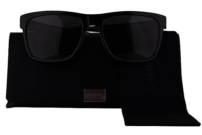 76a07b8299 Hugo Boss Authentic Sunglasses 0727 S Shiny Black w Polarized Smoke ...