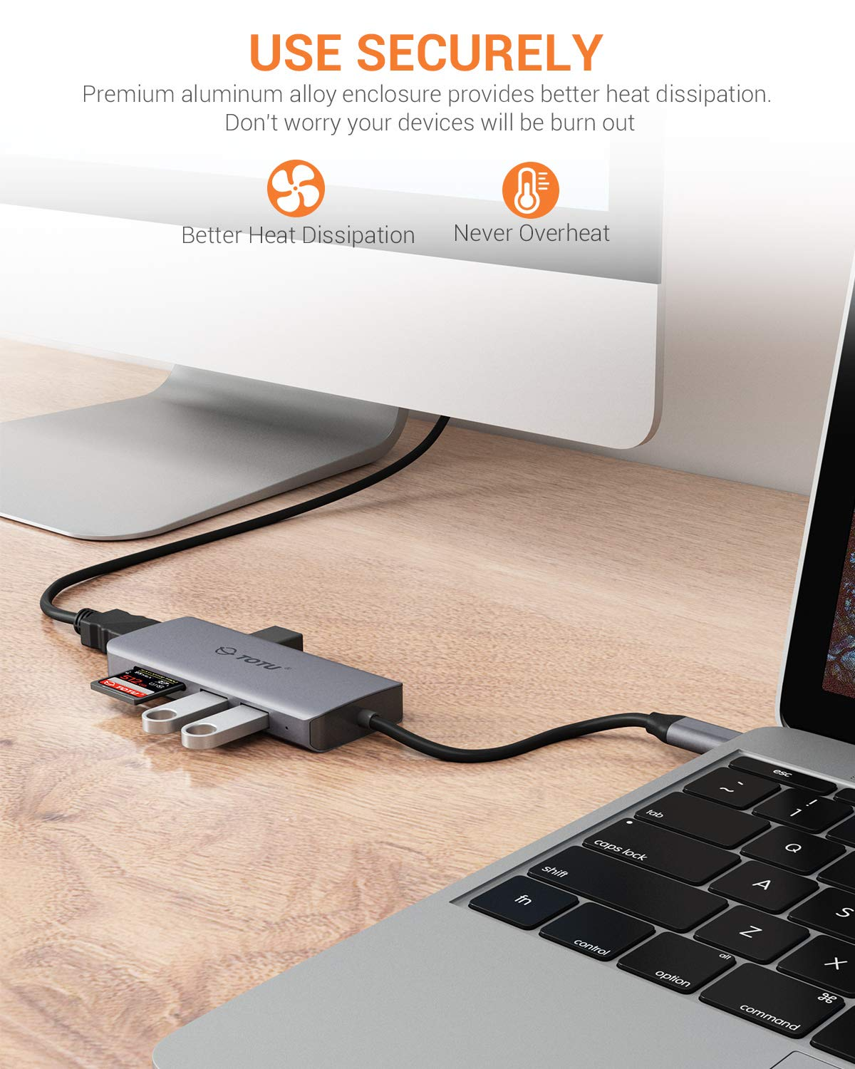 USB C Hub, TOTU 6-in-1 Type C Hub with 2 USB 3.0 Port,1 USB 2.0 Port,4K HDMI,SD/TF Card Port,Compatible for MacBook/Pro/Air 2016/2017/2018 and More USB C Devices (Gray) by TOTU (Image #7)