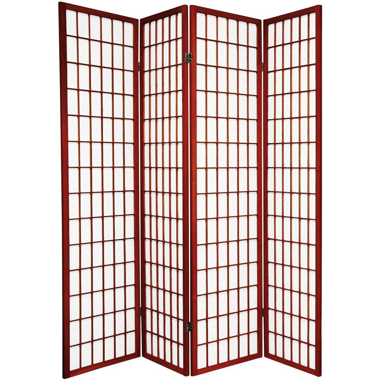 Legacy Decor 4-Panel Folding Shoji Screen Room Divider, Cherry Finish by Legacy Decor