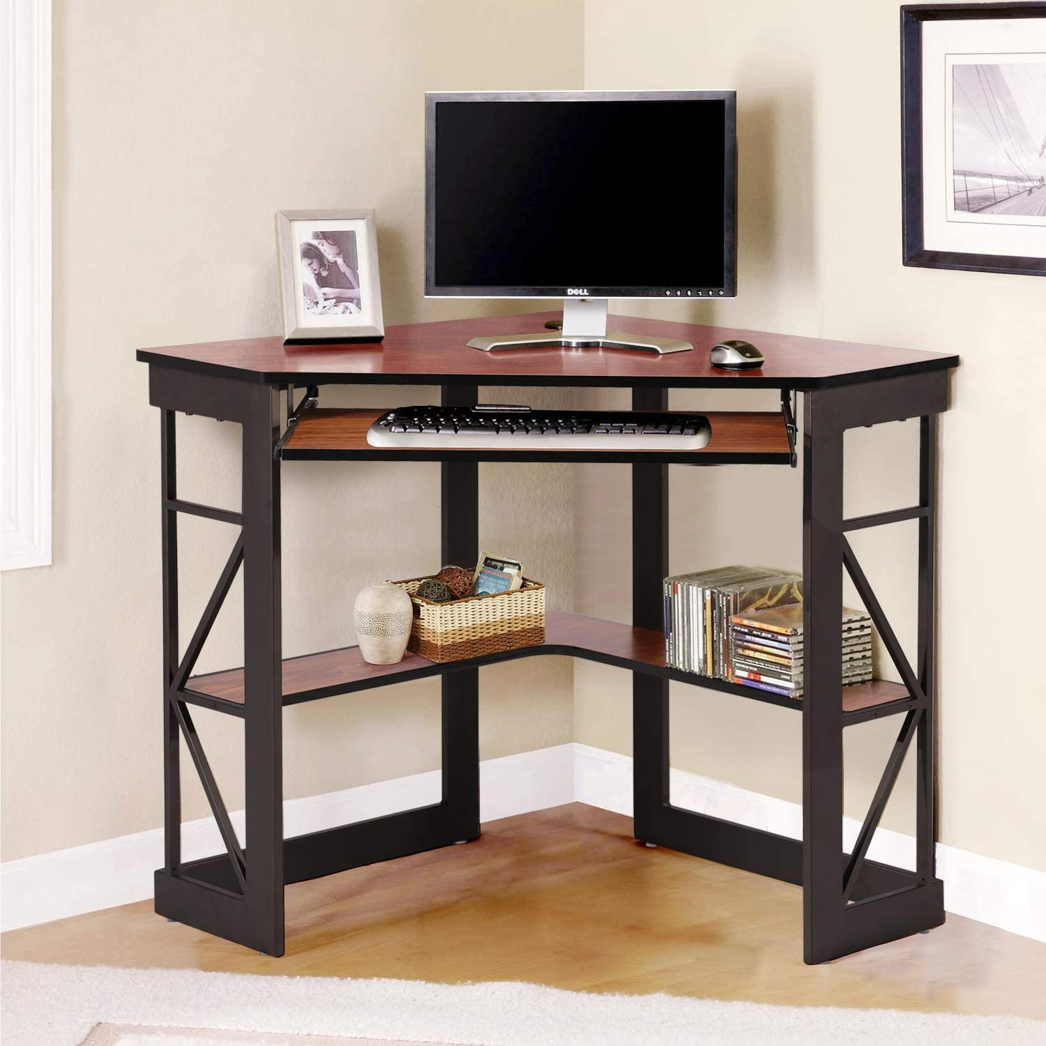 VECELO Corner Computer Desk Writing Smooth Keyboard Tray & Storage Shelves, Compact Home Office Table,Teak