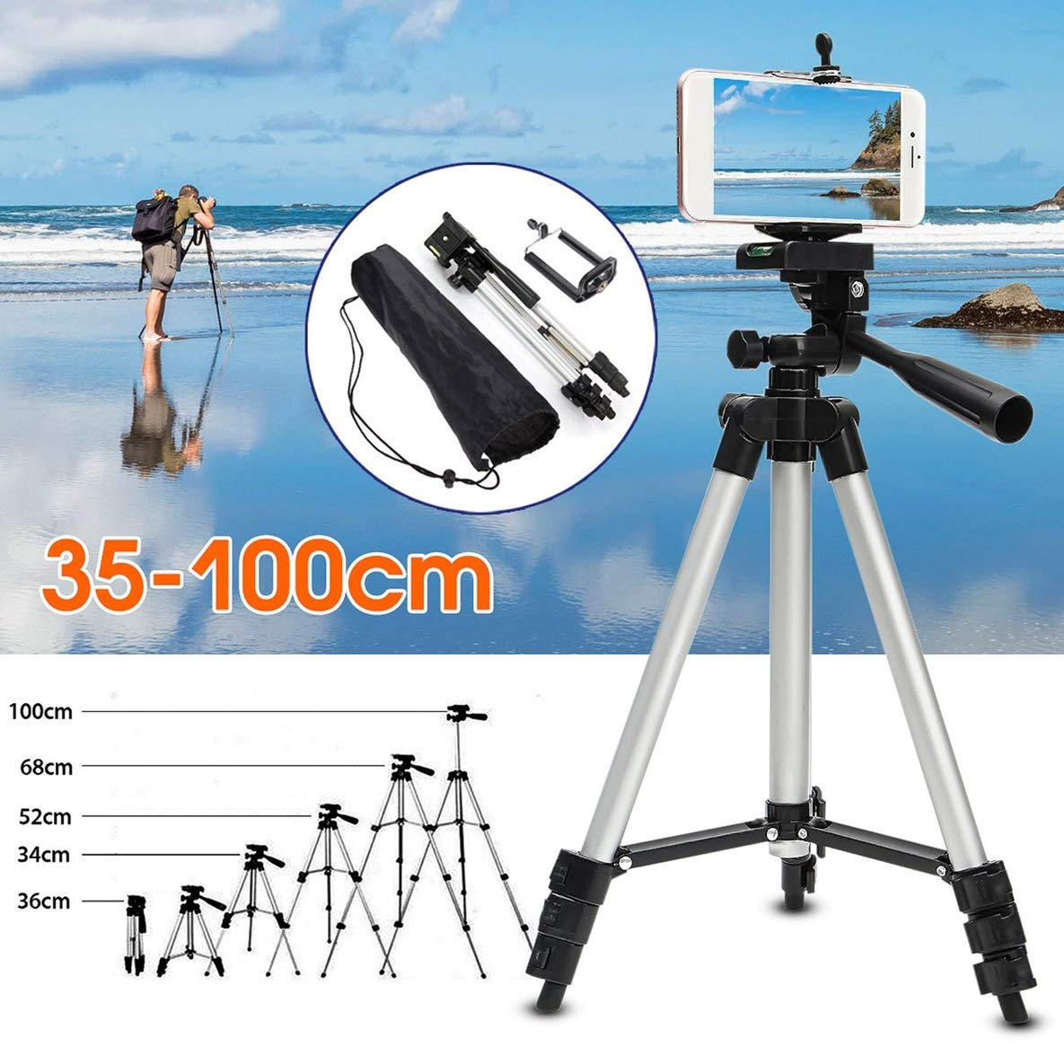 Noradtjcca Portable Flexible Telescopic Camera Tripod With Stand Holder Mount With Carry Bag For Mobile Phone Smart Phone Camcorder