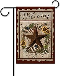 yyone Garden Flag Double Sided Barn Star Welcome Americana Rustic July 4 for Patio Lawn Rustic Farmhouse Flag Yard Outdoor Decoration 12 X 18 Inch