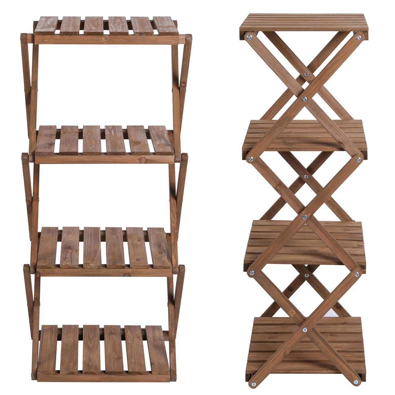 Sunnyglade 4-Tier Foldable Flower Rack Plant Stand Wood Shelf Multipurpose Utility Storage Rack Books Picture Frames Shelves for Yard Garden Patio Balcony Bedroom by Sunnyglade (Image #2)