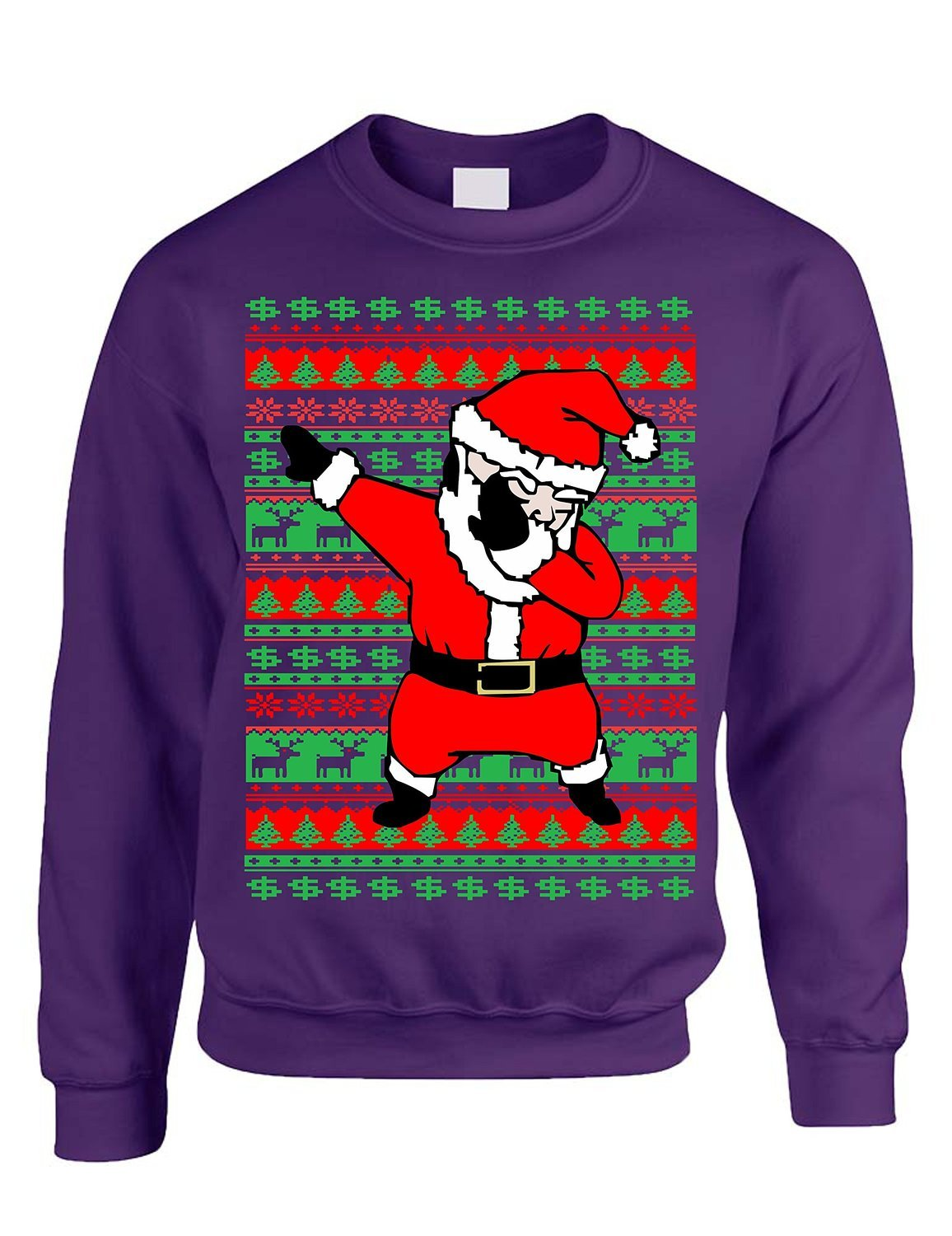 Allntrends Adult Crewneck Dabbing Santa Ugly Christmas Sweater Bella Show