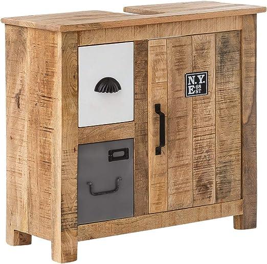 Woodkings® Waschbeckenunterschrank Pune Echtholz Mango