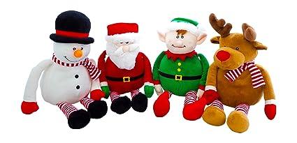 Amazon Com Christmas Santa Elf Reindeer And Snowman Plush Set Of