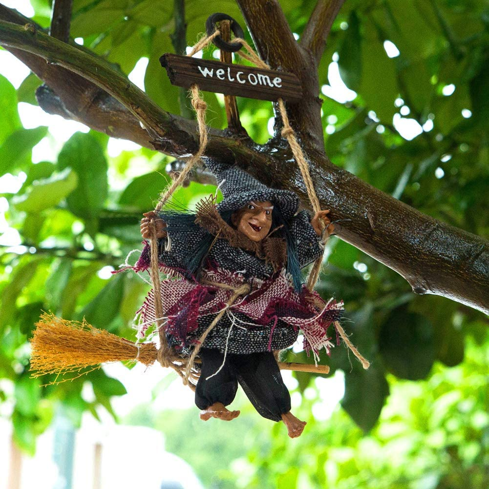 Black Witch Doll Hang Halloween lEIsr00y Halloween Festival Witch Horror Fear Ornament Bar Home Door Wall Hanging Decor