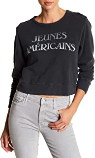 product image for MOTHER The Mathbox Graphic Print Cropped Sweatshirt for Women in Young American, Large