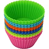 "iGadgitz Home 2.5"" Silicone Cupcake Moulds Reusable Baking Cups Muffin Cake Liners - Pack of 12"
