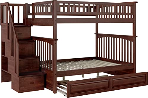 Atlantic Furniture Columbia Staircase Bunk Twin Size Raised Panel Trundle Bed