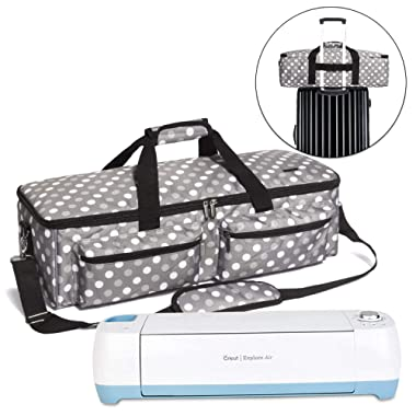 Luxja Carrying Bag Compatible with Cricut Explore Air and Maker, Tote Bag Compatible with Cricut Explore Air and Supplies (Bag Only, Patent Pending), Gray Dots