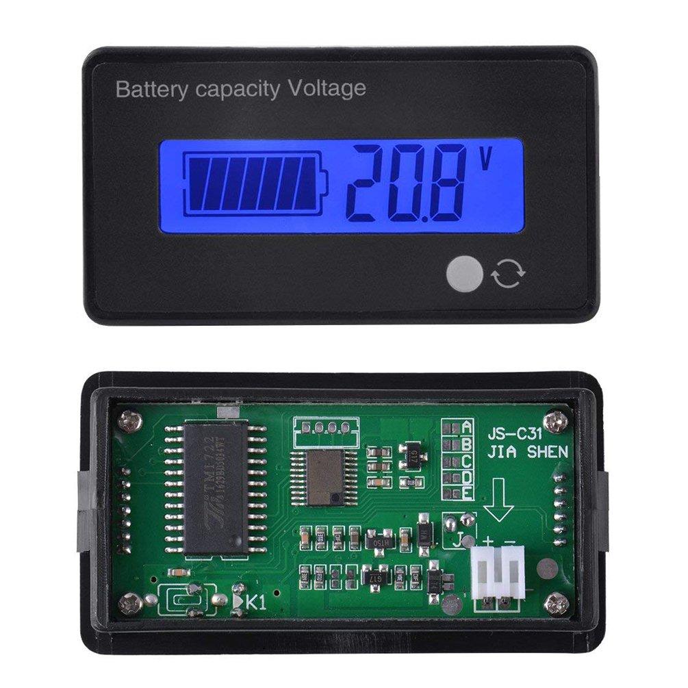 Bater/ía de Ion de Litio de Plomo-/ácido Bater/ía Medidor de Capacidad Medidor de Voltaje Capacidad de la bater/ía Indicador de Estado del volt/ímetro 8V-70V Panel indicador Panel LCD Monitor