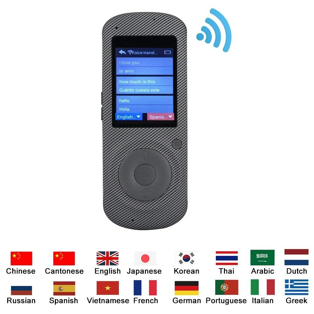 VBESTLIFE Smart Translator, Due Vie Instant Traduttore Vocale Digitale WIFI Portatile Handheld Intelligent Real Voice Traduzione Simultanea di Interprete 37 Lingue Straniere Accurate per Travel Learning Business Meeting