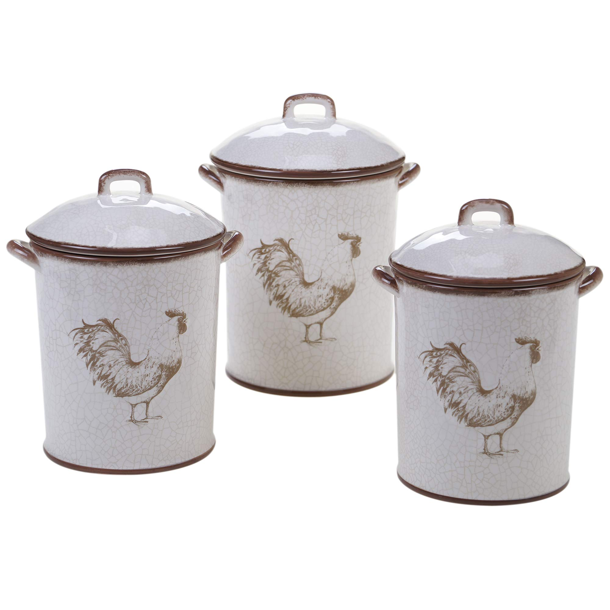 Certified International Toile Rooster 3 pc. Canister Set ,One Size, Multicolored