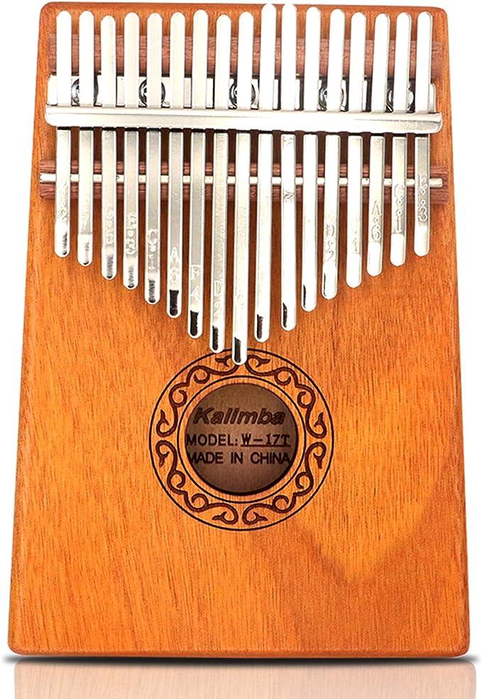 Kalimba 17 Tasten Daumen Klavier mit Tuning Hammer Bag Stickers Kit für Anfänger