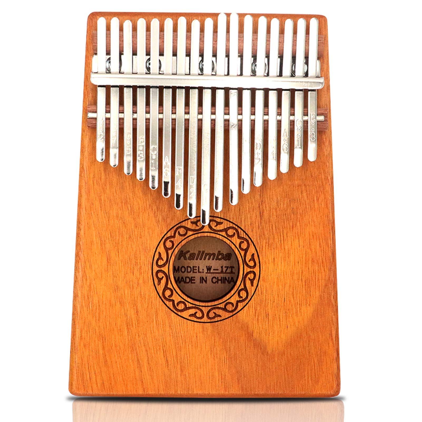 GUNAI Kalimba 17 Keys Thumb Piano Portable Thumb Finger Piano Mahogany Marimba Instrument with Tuning Hammer and 7 Accessories for Music Lover Beginners
