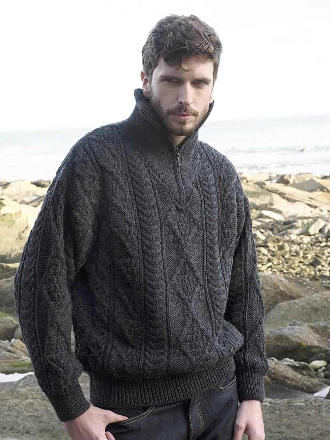 100% Merino Wool Men's Half Zip Knitted Sweater, Charcoal Colour