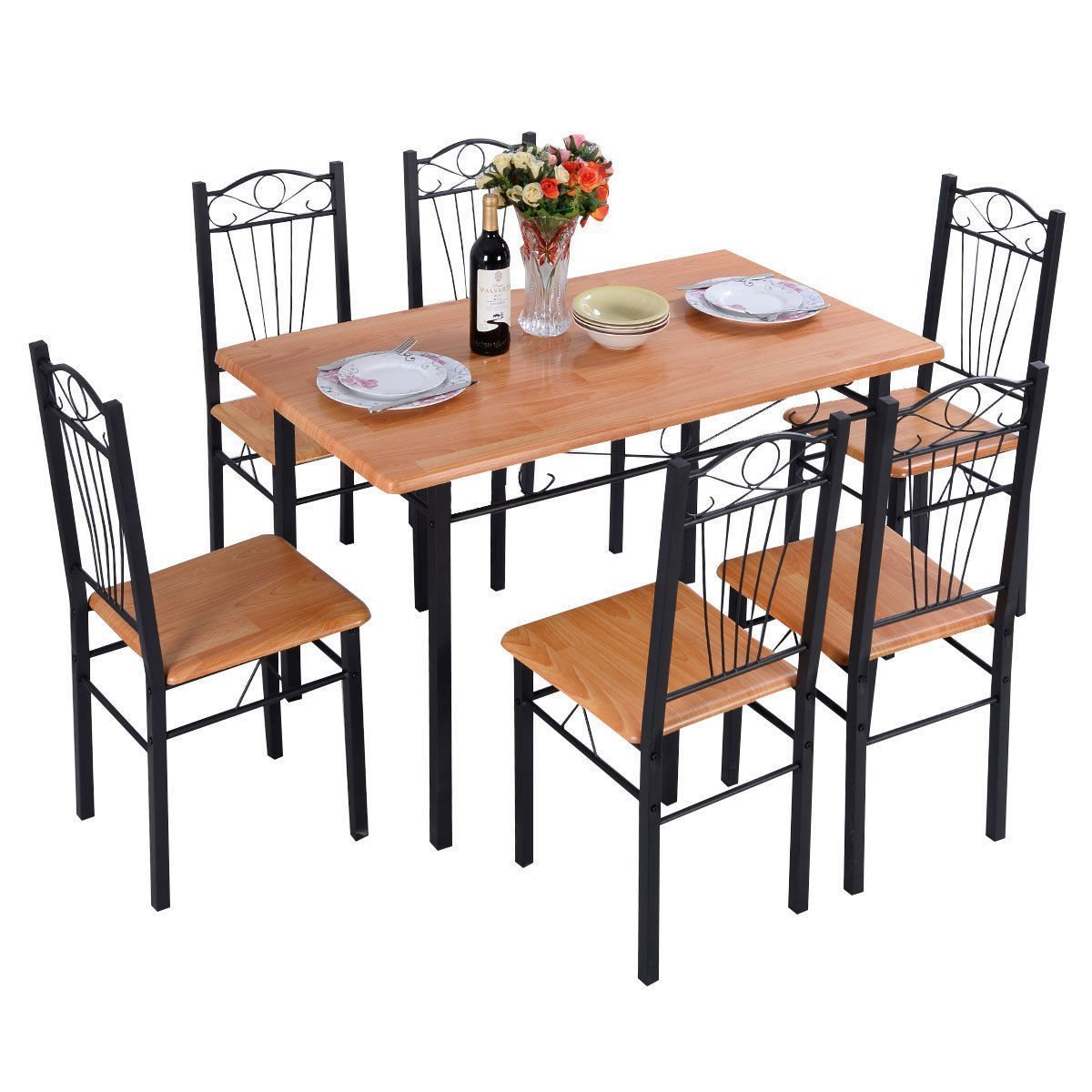 Yopih Steel Frame Dining Set Table and Chairs Kitchen Modern Furniture Bistro Wood (1 Table With 4Chairs)