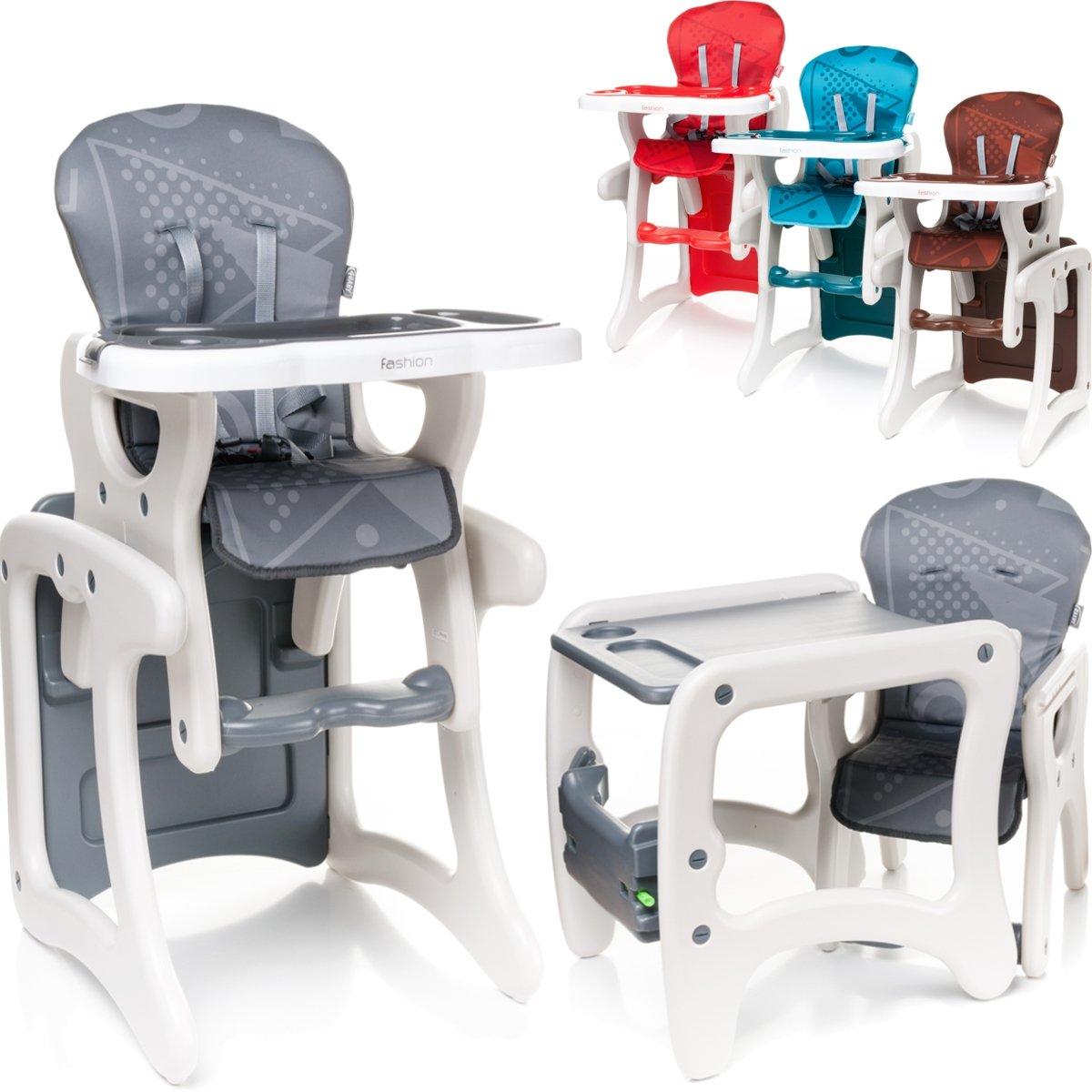 2IN1 Hochstuhl - Tisch & Stuhl SET (umbaubar) Baby Kind (6 Monate bis 6 Jahre) (Braun)