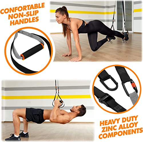 QonQuill Bodyweight Resistance Training Straps Kit with Workout Straps for Full Body Workouts - Fitness Straps Workout Equipment for Home Workouts and Outdoor Exercises