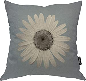 Moslion Daisy Throw Pillow Cover White Petal Floral Plant Nature Bloom Botany Handmade Decorative Square Pillow Case Cushion Cover for Home Car Decorative Cotton Linen 18x18 Inch