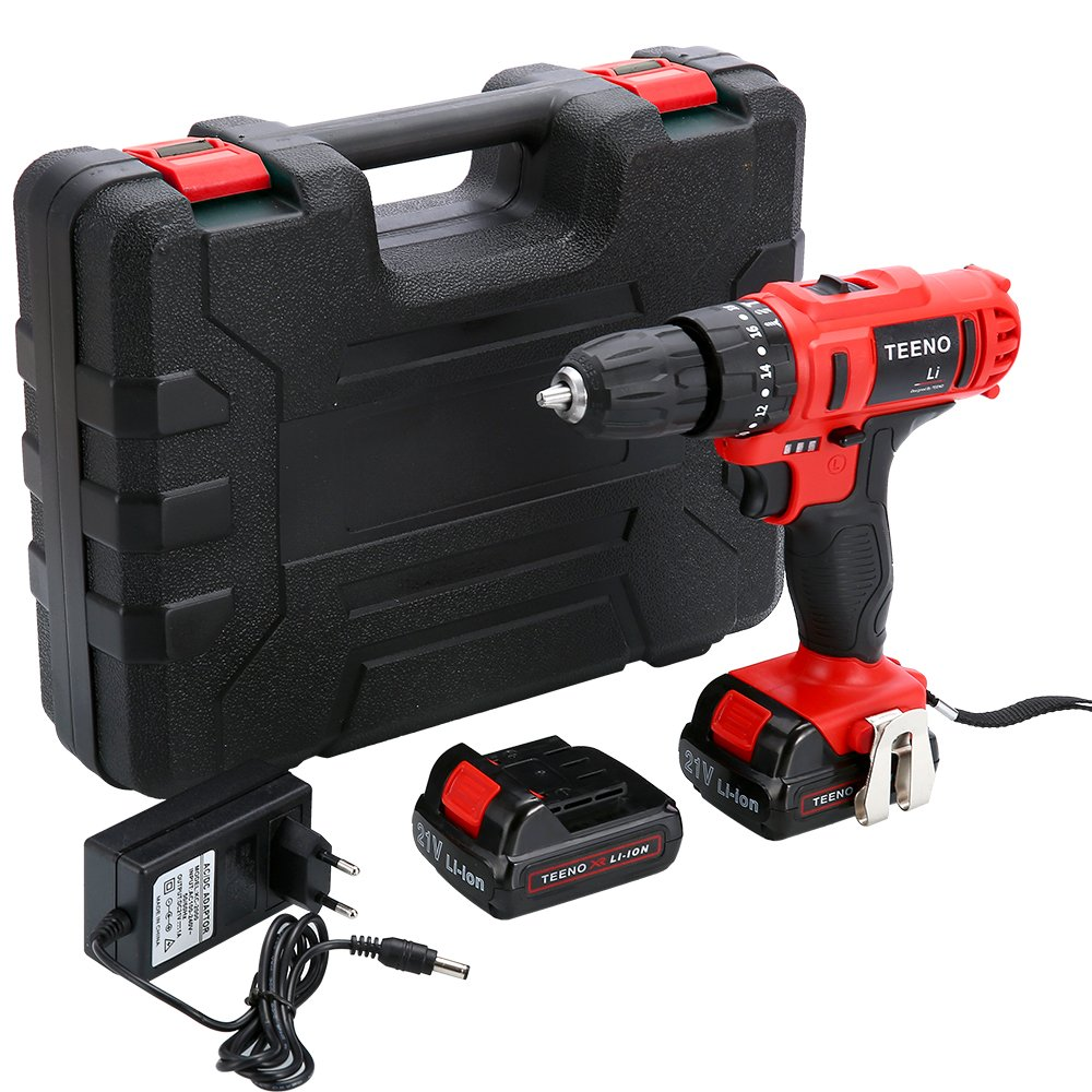TEENO 21V MAX Impact 3/8'' Cordless Drill Driver set with 2 Lithium Ion Batteries 1500mAh, 1Hr Fast Charger, 25pcs Accessories Included, Impact Fanction by TEENO (Image #2)