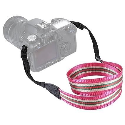 Stripe Style Series Shoulder Neck Strap Camera Strap for SLR//DSLR Cameras Color : Rose Red Camera Bags Cases Dark Red