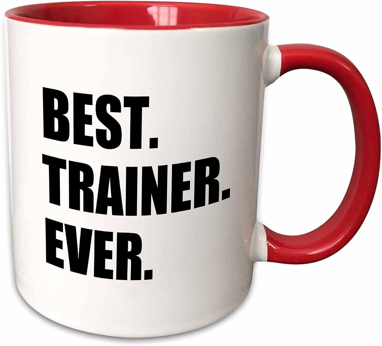 3dRose 185019_5 Best Trainer Ever Fun Gift For Training Job Appreciation Black Text Two Tone Mug, 11 oz