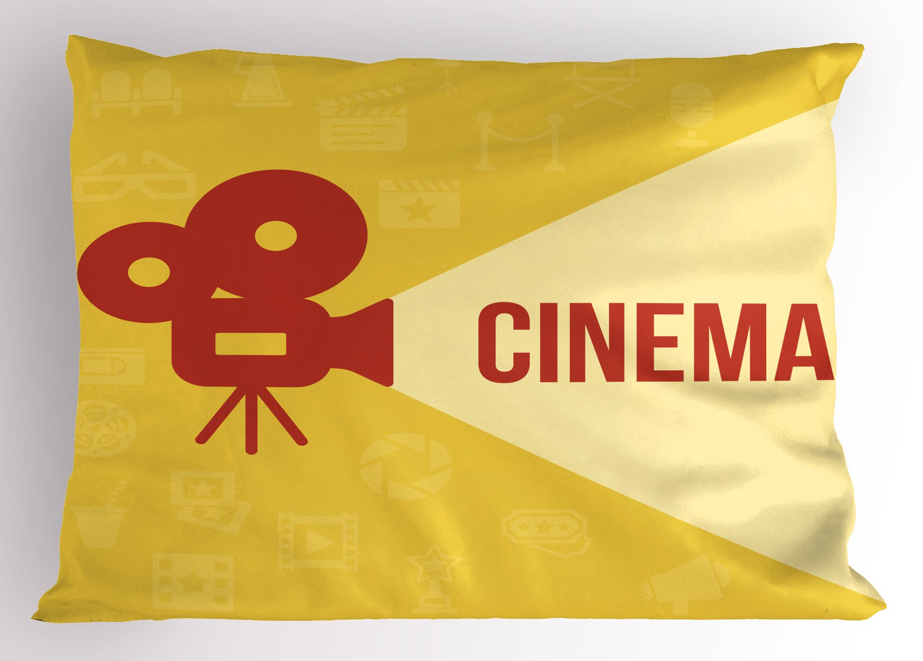 Ambesonne Movie Theater Pillow Sham, Projector Silhouette with Cinema Quote Movie Symbols Background, Decorative Standard Queen Size Printed Pillowcase, 30 X 20 Inches, Dark Coral Beige Yellow