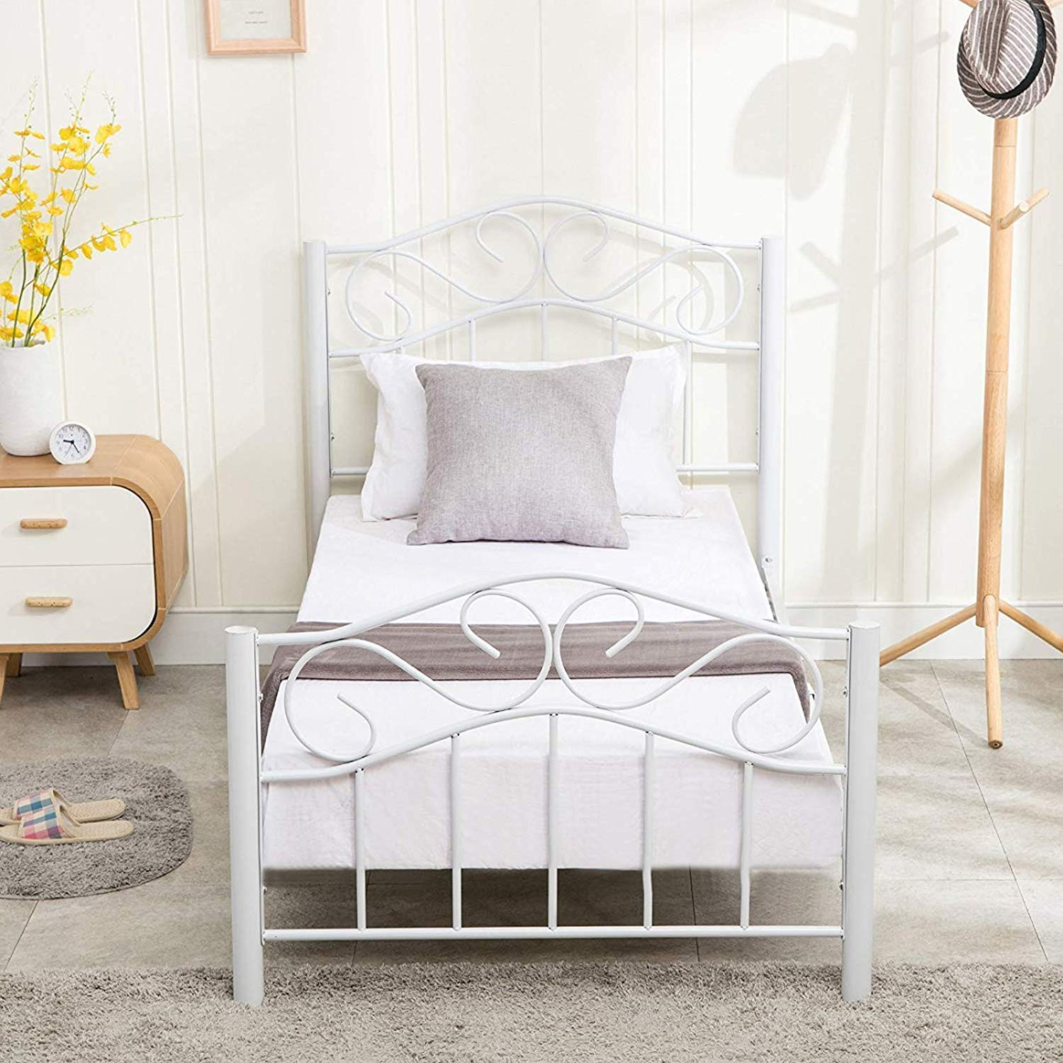 mecor Twin Curved Metal Bed Frame Mattress Foundation Platform Bed for Kids Girls Boys Adults with Steel Headboard Footboard,No Box Spring Needed,White Twin Size