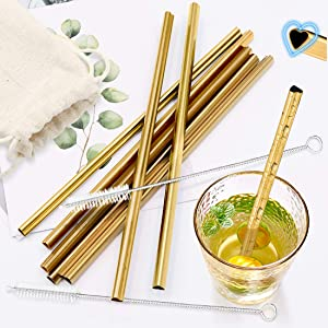 Kalevel Metal Reusable Straws Set of 8 Stainless Steel Drinking Straws 8mm Wide with Cleaning Brush and Pouch for 20 oz Tumbler (Gold)