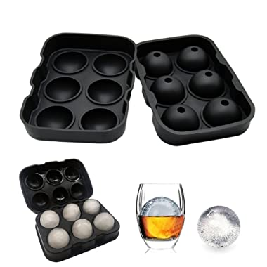 Wosweet Ice Cube Tray Mold - Black Silicone Ice Ball Maker With 6 X 4.5cm Round Ice Ball Spheres for Whiskey, Cocktails & Bourbon