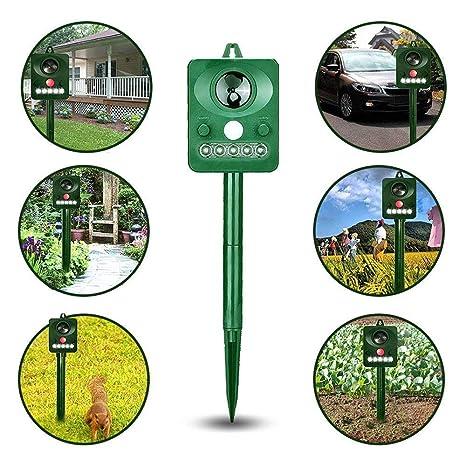 WZDeworming Repelente de Animales al Aire Libre, jardín Solar ultrasónico, Repelente de Animales,