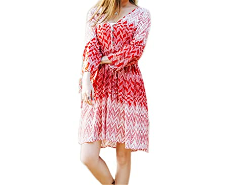 Twilaisaac Fashion novo c dress chiffon rosa loose women dress impresso beach dress bonito vestidos de