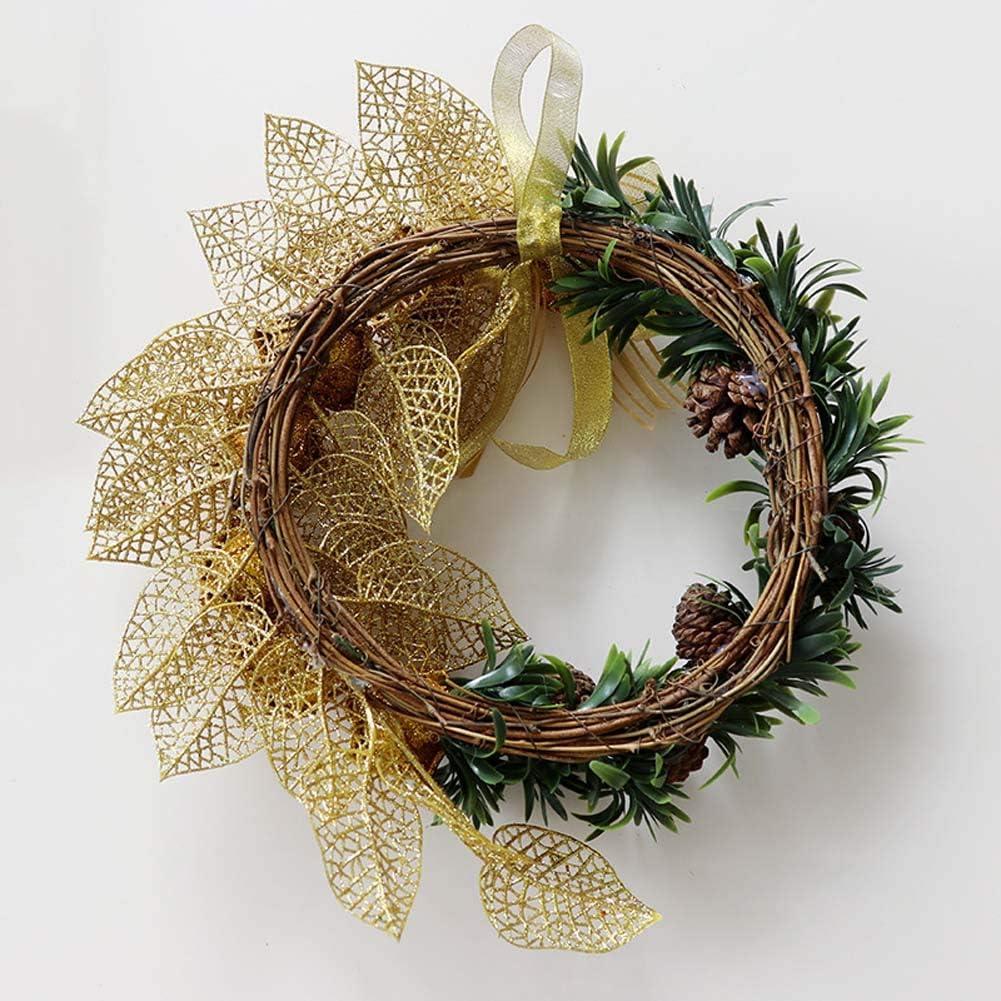 Yw-Flower Guirnalda de decoración navideña, Guirnalda de Cono de Pino y Rosa Artificial, Guirnalda de exhibición de Boda de Entrada de Puerta Principal, 12 Pulgadas