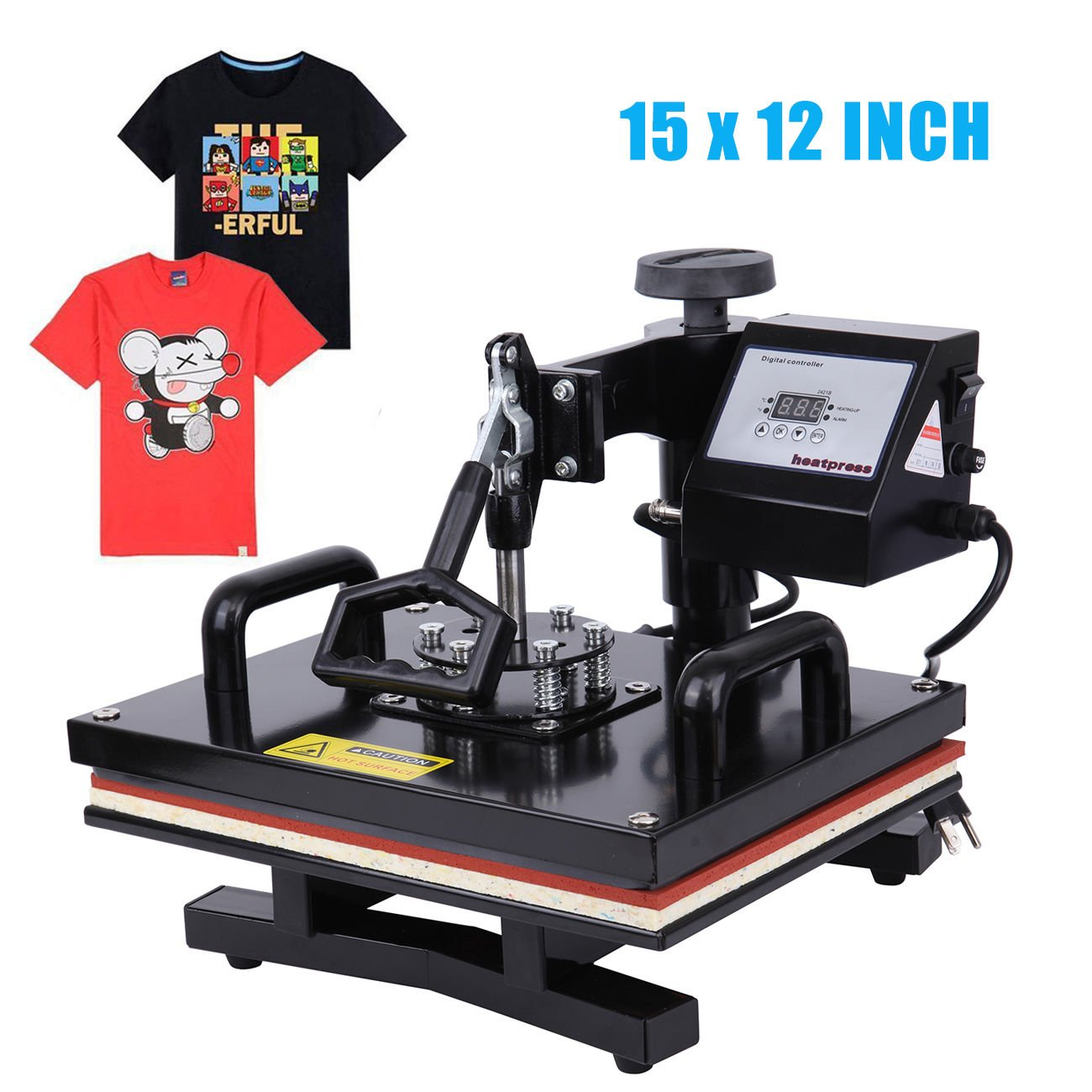 Ridgeyard 110V 15.6 inch by 12.4 inch Digital LCD Display Pro 360 Degree Swing-away Sublimation Heat Transfer Press Machine for T-Shirt (Single)