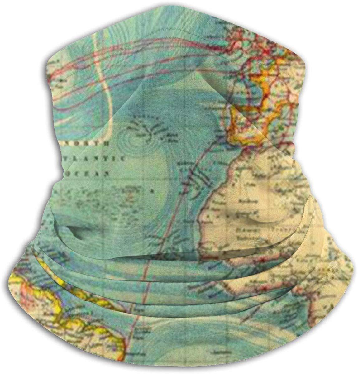 Mapa del Mundo de Estilo Vintage Unisex Invierno Fleece Neck Warit Polainas Hairband Tubo para Clima fr/ío M/áscara Facial Bufanda t/érmica Cuello Exterior UV Protection Party Cover